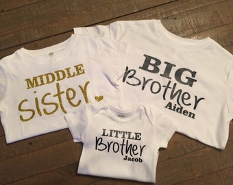 Personalized Big Brother, Middle Sister, Little Brother Shirt Set