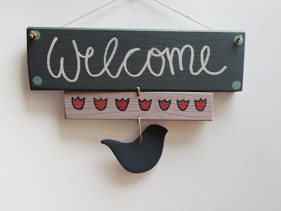 Welcome sign gift ideas door hanger wooden door signs door - Wooden door signs for home ...