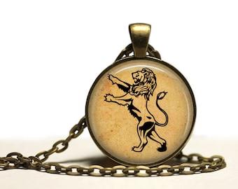Standing Lion necklace Animal pendant Big Cat jewelry