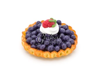 Dollhouse Miniatures Blueberry with Strawberry & Whip Cream Topping Round Tart