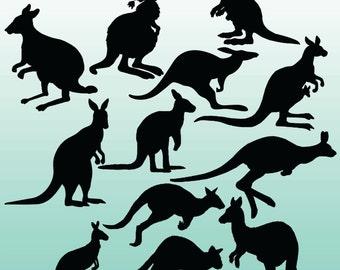 12 Kangaroo Silhouette Digital Clipart Images, Clipart Design Elements, Instant Download, Black Silhouette Clip art
