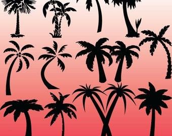 12 Palm Tree Silhouette Digital Clipart Images, Clipart Design Elements, Instant Download, Black Silhouette Clip art