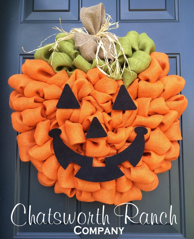 Jack O Lantern Pumpkin Burlap Wreath Rustic By