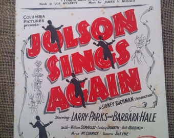 SALE WAS 6 Vintage Sheet Music 1913. You Made Me Love You from Jolson Sings Again by McCarthy and Monaco. For Piano, Guitar and Voice.