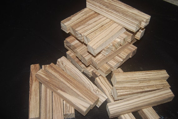 Zebrawood pen turning blanks, 1 inch x 1 inch x 6 inches, pen turning supplies