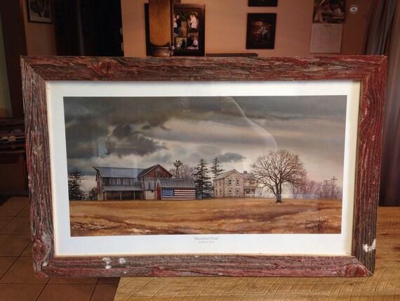 Reclaimed Barn Wood American Flag Farmhouse Picture Frame