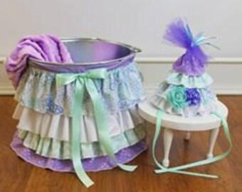 Ruffle Bucket Baby Photography Prop Lavender/Aqua