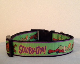 1 Inch Wide Custom Made Adjustable Scooby Doo Grosgrain Dog Collar