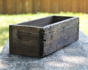 "12"" Rustic Planters Box (3.75""H - Short Version), Garden Box, Storage, Wooden Box, Herb Box, Primitive Box, Shabby Chic, Succulent, Farm Box"