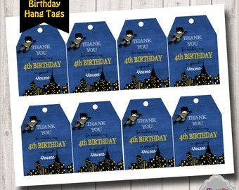 Batman - Birthday Thank You Hang Tags - Printable - HT007 PERSONALIZED