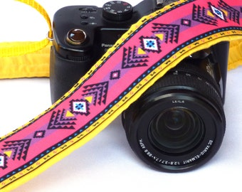Native American Camera Strap (inspired). DSLR Camera Strap. Pink and Yellow Camera Strap. Camera Accessories