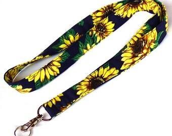 Sunflowers Lanyard. Key Lanyard. Flowers Fabric Lanyard. ID Holder. Fashion Accessories