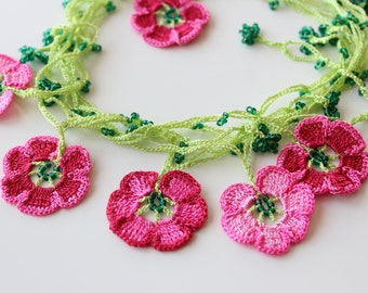 Pink flower necklace, Cherry Blossom Necklace, Lariat Jewelry, Beaded necklace, Flower jewelry