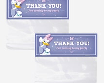 DAISY DUCK Bag Toppers, Printable Favor Bag Toppers, Birthday Party Decorations, Red Head Invites
