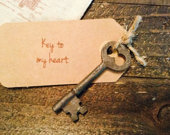 Key to my heart, iron key gift, I love you gift, anniversary gift, engagement gift, vintage key, antique key, wedding gift, rustic wedding