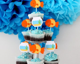 12 x Fish Cupcake Toppers; Goldfish, Fishbowl, Gone Fishing, Under the Sea