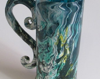 Unique marbled Glass with Handle
