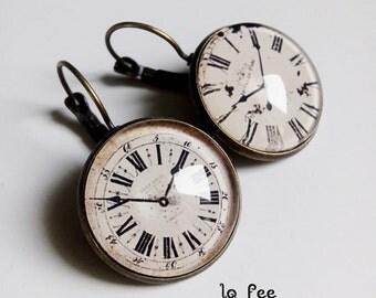 dangle earrings * antique watch * style retro vintage glass cabochon