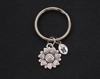 Sunflower keychain, sterling silver filled, initial keychain, silver flower charm keyring, spring flower,summer flower keyring, bridesmaids