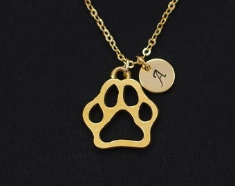 initial necklace, dog paw necklace, gold paw charm on gold plated chain, pet necklace, pet loss, dog memorial, pet lover gifts