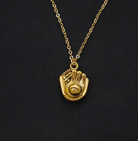 baseball mitt and necklace gold softball mitt charm