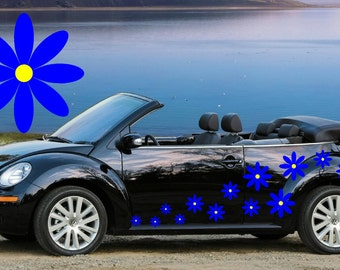 32,Blue daisy flower car decals,stickers in three sizes,Blue flowers with Yellow centers