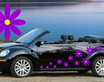 20,Purple daisy flower car decals,stickers in three sizes,Purple flowers with Yellow centers
