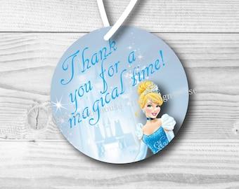 INSTANT DOWNLOAD Cinderella Favor Tag Printable - Cinderella Birthday Party Printable 2.5 inch Favor Tags - Cinderella Favor Tags