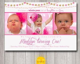 Girl Birthday Photo Invitation Personalised Printable Any Age 1st Birthday Pink and Gold Glitter
