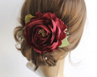 Marsala hair flower, Bridal hair piece, Burgundy Wedding hair flower, Marsala rose hair clip, Bridesmaids Hair flower, red Fabric flower