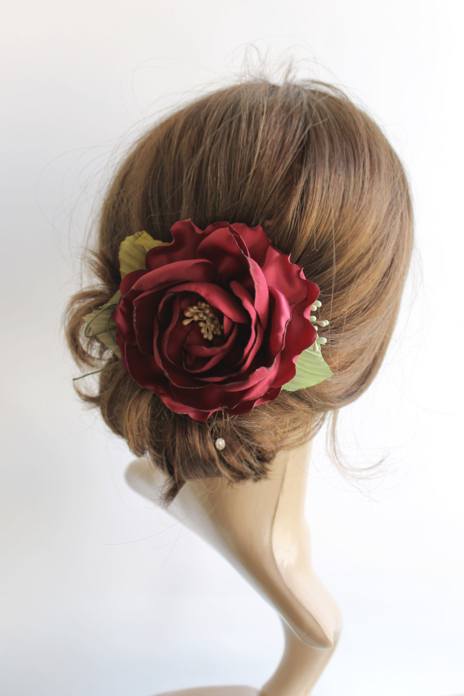 Marsala Hair Flower Bridal Hair Piece Burgundy Wedding Hair