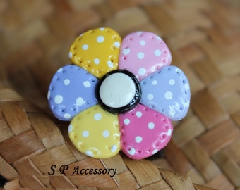 Clay Ring, colorful flower ring, sweet ring,, jewelry ring, flower ring, ring clay