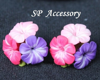 hibiscus earrings, bouquet hibiscus earrings, flower earrings, lovely earrings, earrings clay