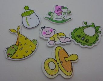 6 pcs new baby wooden buttons green yellow scrapbook children crafts two holes