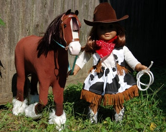 Cowgirl costume with fringed skirt, vest and bandana for your 18 inch or American Girl doll