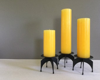 ON HOLD for Vicki- plz do not purchase- Mid-Century Set of Three Iron Candle Holders - Atomic Era - Space Age - Halloween Candles - Danish M