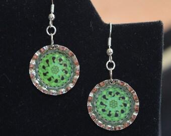 "Bottle Cap Mandala Earrings - ""Emerald Sea"""