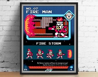 Mega Man poster, Nintendo art, video game poster, classic game print, pixel art, Fire Man, kids room poster, game room art