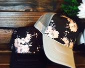 Almost sold out! Best selling limited edition black floral design, available on a variety of different colored brims and sizes, verify size!