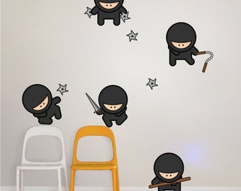 Ninja Wall Decals for Kids, Nursery Wall Ninjas, Ninja Wall Decals, Ninja Wall Decal Murals, Ninja Wall Art Designs, Ninja Wall Art, a29