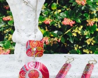 Red summer swirl aluminium earrings on sterling silver