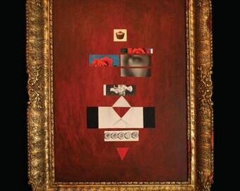 "King  28"" x 20"" mixed media art"