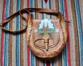 Vintage Leather Hand Painted Guadalajara Saddle Bag Purse