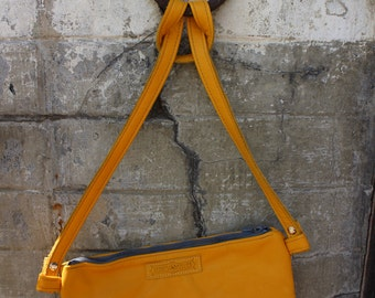 mustard colored leather purse