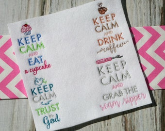 Keep Calm - 12 Different Filled Stitch Machine Embroidery Designs 4x4 5x7 6x10 Sizes Included