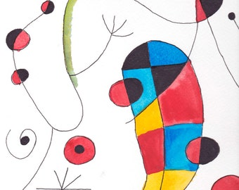 Vibrant Abstract Mixed Media Watercolor Miro Painting
