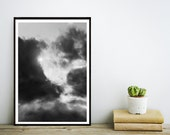 Abstract Art Print, Abstract Photo, Clouds Photography, Black and White Photo,  Printable Art, Instant Download, Modern Wall Art