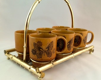 SALE - Set of 6 Butterfly Mugs with Carrier
