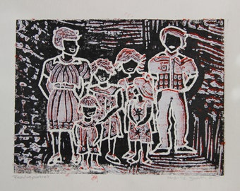 Linocut by family with four daughters, children. Growing up together. For those who also grew up with four sisters.