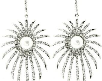 Pearl and Rhinestone Spike Earrings